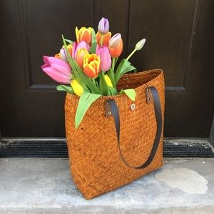 Straw hand woven jute market tote | Light Brown